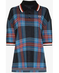 Charles Jeffrey LOVERBOY X Fred Perry Oversized Tartan Polo Shirt - Blue