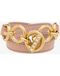 Miu Miu Wrapped Leather Chain Bracelet - Pink