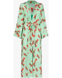 BERNADETTE Peignoir Floral Silk Robe - Green