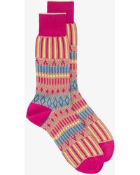Ayamé - Pink Basket Lunch Patterned Socks - Lyst