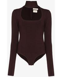 Bottega Veneta Womens Red Cutout Bodysuit