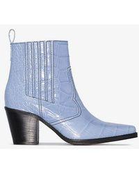 Ganni Texan Boots - Blue