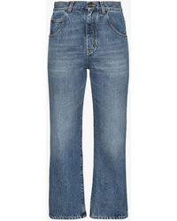Saint Laurent '70s Straight Leg Cropped Jeans - Blue