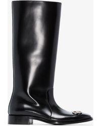 Balenciaga Rim Bb Leather Rain Boots - Black