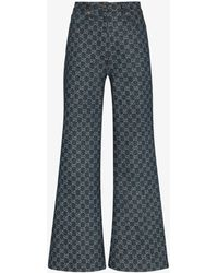 Gucci Monogram Flared Jeans - Blue