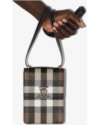 Burberry Tb House Check Leather Messenger Bag - Brown