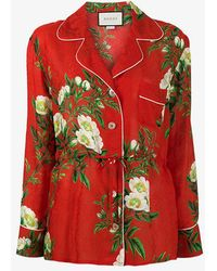 Gucci Floral Print Brocade Pyjama Top - Green