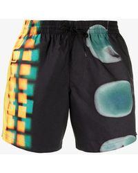 Dries Van Noten Abstract Print Swim Shorts - Black