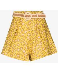 Zimmermann Carnaby Leopard Print Linen Shorts - Yellow