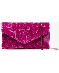 Dries Van Noten - Pink Envelope Crushed Velvet Clutch Bag - Lyst