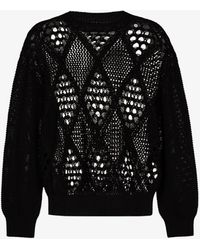 Children of the discordance Diamond Knit Cotton Jumper - Black