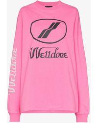 we11done Logo-print Cotton Long-sleeve T-shirt - Pink