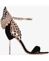 Sophia Webster Womens Rose Gold And Black Evangeline 100 Butterfly Sandals