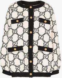 Gucci GG Tweed Oversized Bomber Jacket - White