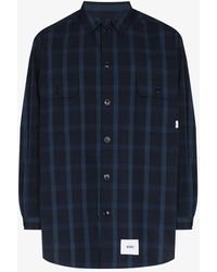 WTAPS Checked Long Sleeve Shirt - Blue