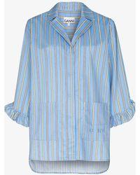 Ganni Software Striped Cotton Pyjama Shirt - Blue