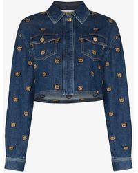 Moschino Teddy Bear Embroidered Denim Jacket - Blue