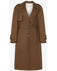 Marni Belted Wool Trench Coat - Brown
