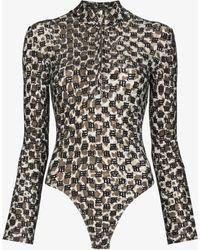 MISBHV Monogram Long Sleeve Bodysuit - Brown