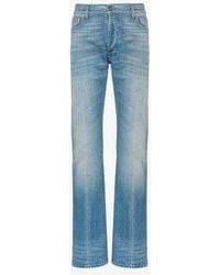 Gucci - Web Trim Embellished Straight Jeans - Lyst