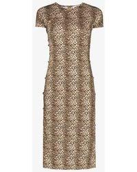 Marcia Leopard Print Tchikiboum Midi Dress - Brown