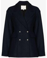 Tibi Double-breasted Wool Blazer - Blue