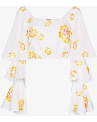 All Things Mochi Bonita Floral Embroidered Ruffled Blouse - White