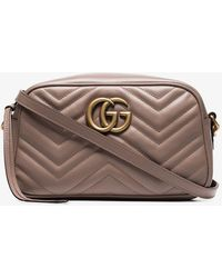 caed57ccaa5 Lyst - Gucci Gg Marmont Matelassé Medium Shoulder Bag In Taupe in ...