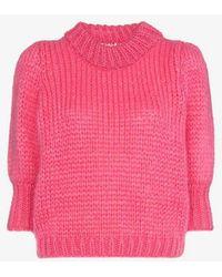 Ganni - Julliard Knitted Mohair Short Sleeved Jumper - Lyst