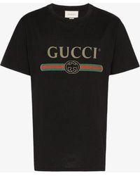 Gucci - Fake Logo Print T-shirt - Lyst