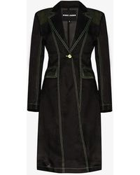 Angel Chen Waffle Sheer Silk Trench Coat - Black