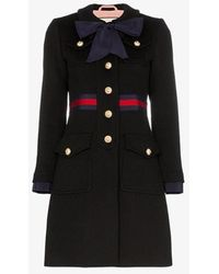 Gucci Neck Bow Single-breasted Wool Coat - Blue