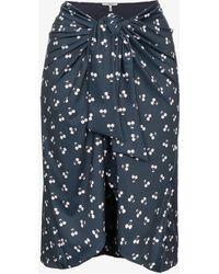 Ganni - Blue Cherry Print Wrap Skirt - Lyst