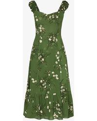 Reformation Bondi Floral Sweetheart Dress - Green