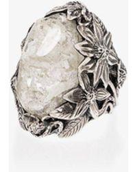 Lyly Erlandsson Winter Leaf Sterling Silver Crystal Ring - Metallic