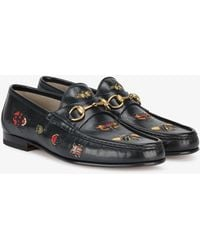 Gucci - Embroidered Leather Horsebit Loafer - Lyst