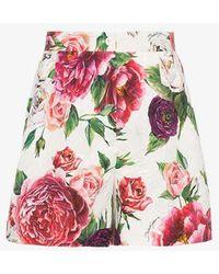 Dolce & Gabbana - Peonie Print Brocade Shorts - Lyst
