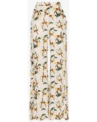 Adriana Degreas Orchid Print Flared Trousers - White
