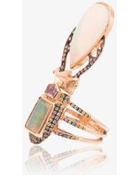 Daniela Villegas Womens Metallic 18k Rose Gold And Multicoloured Aurae Opal And Sapphire Ring