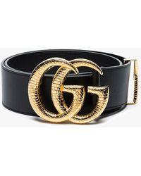 economico per lo sconto 80c22 c01a0 Black GG Marmont Snake Scale Buckle Belt