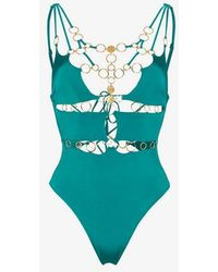 Agent Provocateur - Davine Gold Ring Lace Up Swimsuit - Lyst