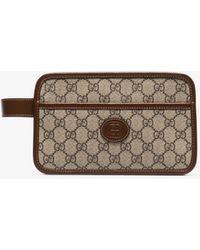 Gucci GG Supreme Travel Case - Brown