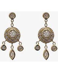 Jacquie Aiche - 14k Yellow Gold Dream Catcher Diamond Drop Earrings - Lyst