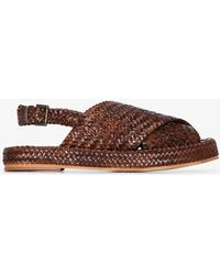 St. Agni Yona Woven Leather Sandals - Brown