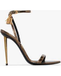 Tom Ford 105 Padlock Snake Effect Leather Sandals - Metallic