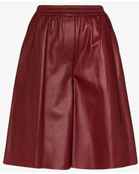 JOSEPH Tomy Leather Shorts - Red