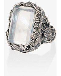 Lyly Erlandsson Orsay Sterling Silver Crystal Ring - Metallic