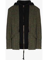 Greg Lauren Window Pane Hooded Blazer Jacket - Green