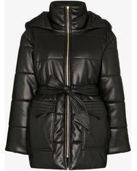 Nanushka Lenox Hooded Vegan Leather Puffer Jacket - Black