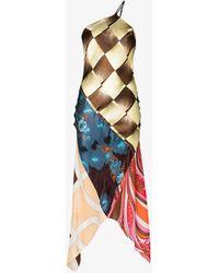 Conner Ives X S Focus Patchwork Asymmetric Midi Dress - Brown